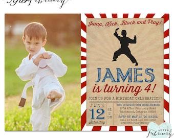 Karate Birthday Invitation Photo Invite Boy Martial Arts Printable No482KIDS