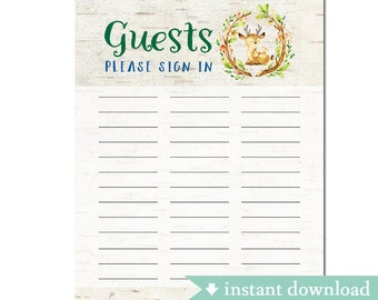 guest sign in sheet etsy