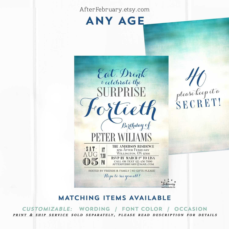 Summer Beach Surprise Adult Birthday Invitation Men Birthday Invitation Adult Birthday Invites Digital Printable No 971 Adult V2