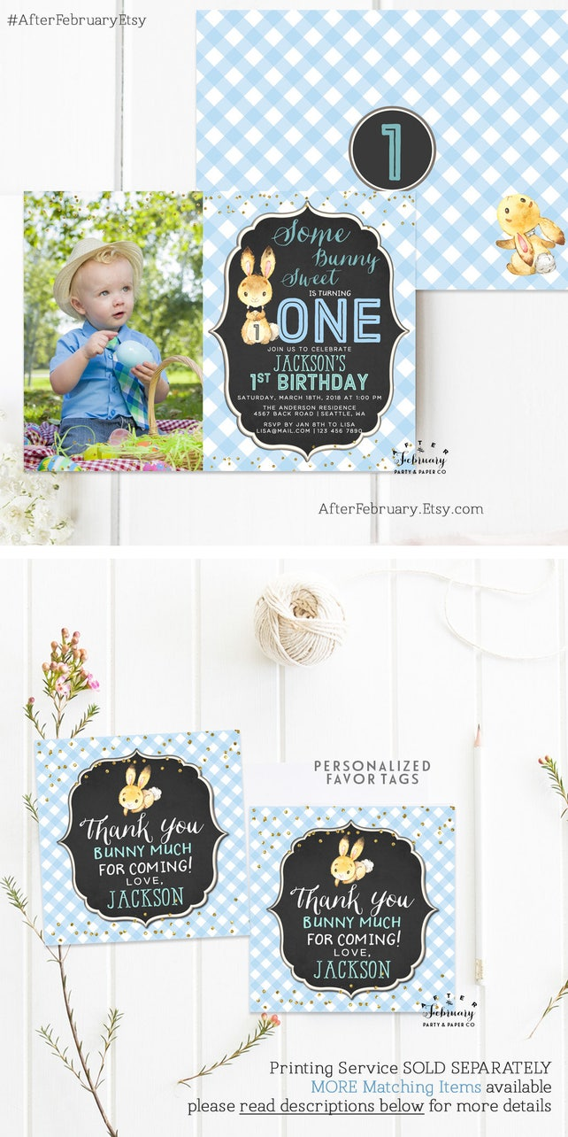 ANY AGE Bunny Birthday Invitation Boy Party