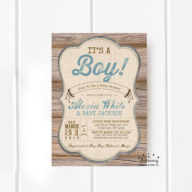 Rustic Baby Shower Invitation Its A Boy Wood Forest Dusty Blue Etsy