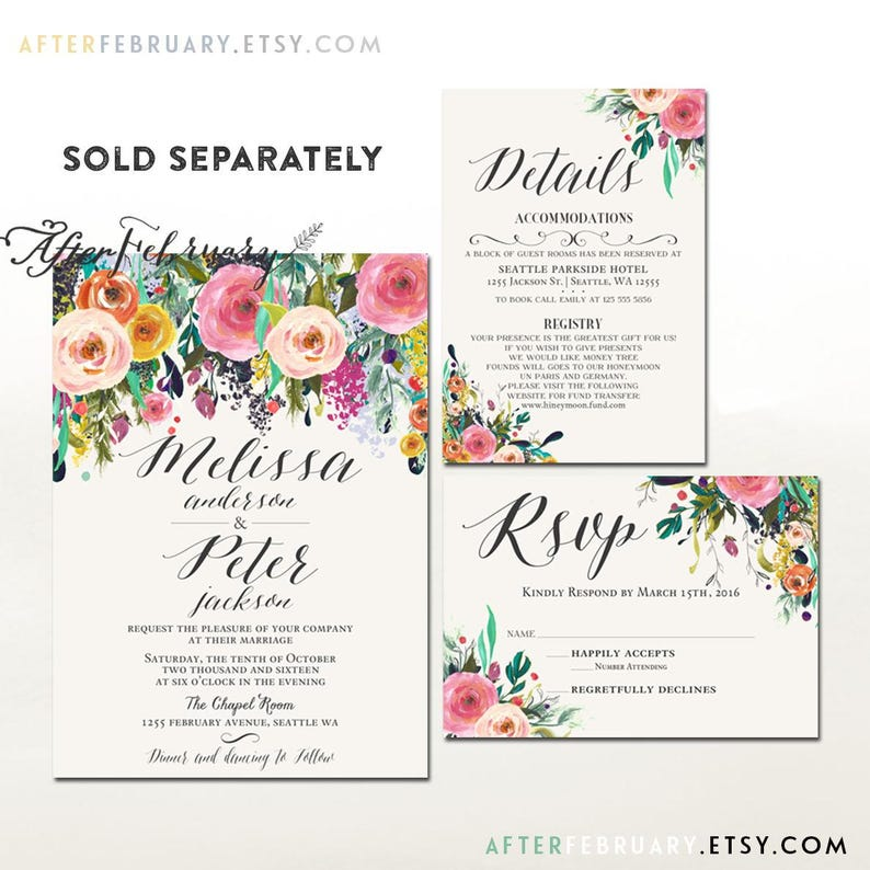 Floral Save the Date Printable Wedding Save the Date Post Card or Flat Card Printing Service Sold Separately No.1811