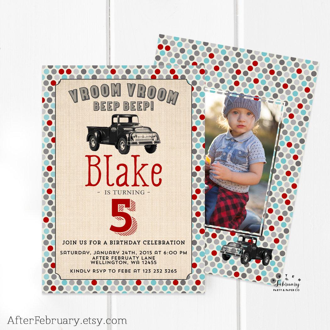 Vintage Truck Boy Birthday Invitation Truck Birthday Invite | Etsy