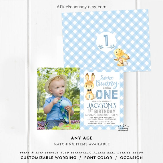 Any Age Bunny Birthday Invitation Boy First 2nd Birthday Party Invitation Blue Gingham Birthday Invites Printable No 106kids V2