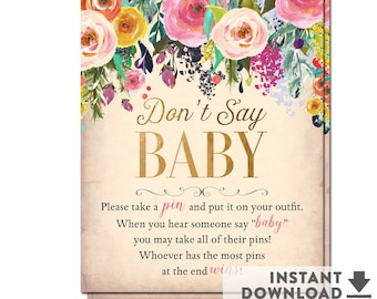 """Don't Say Baby Game Printable 8x10"""" Sign , Flower Floral Girl Baby Shower Games Printable (Instant Download) No.1052BABY"""