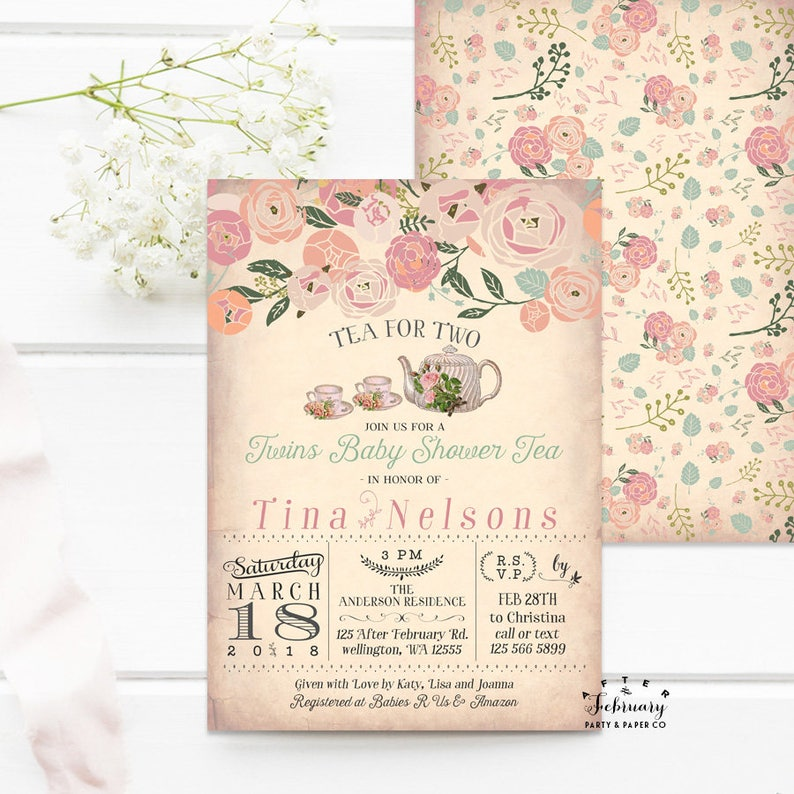 Twins Baby Shower Invitation Tea Party For Two Twin Girls Printable No888BABY