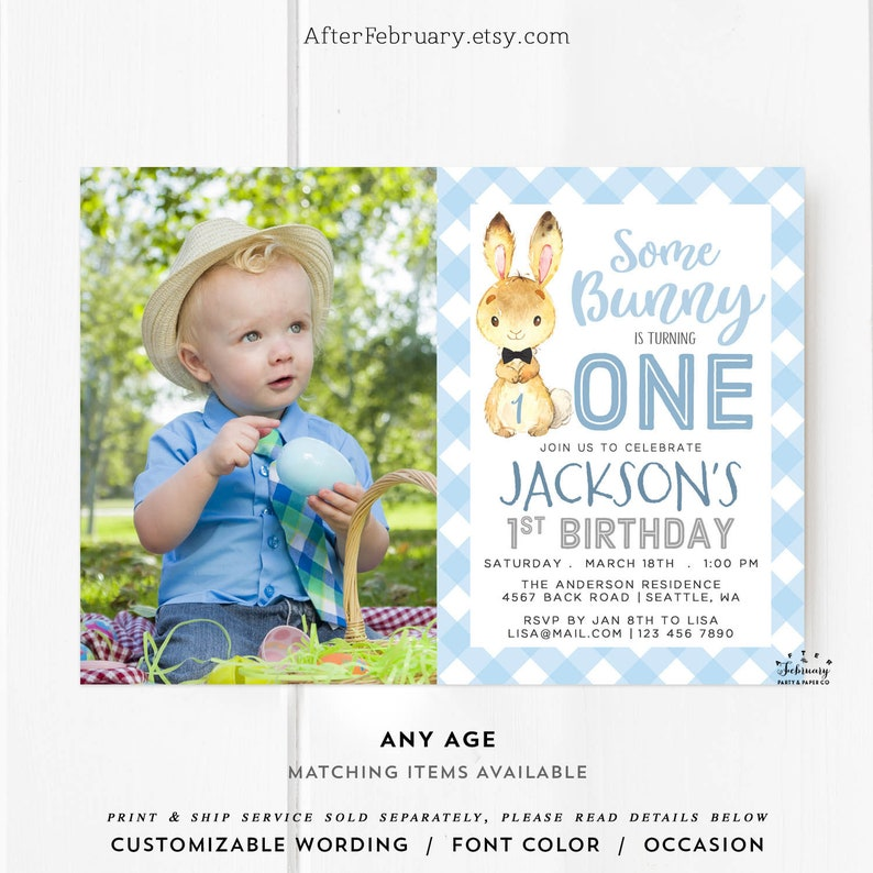 ANY AGE Bunny Birthday Invitation Boy First 2nd