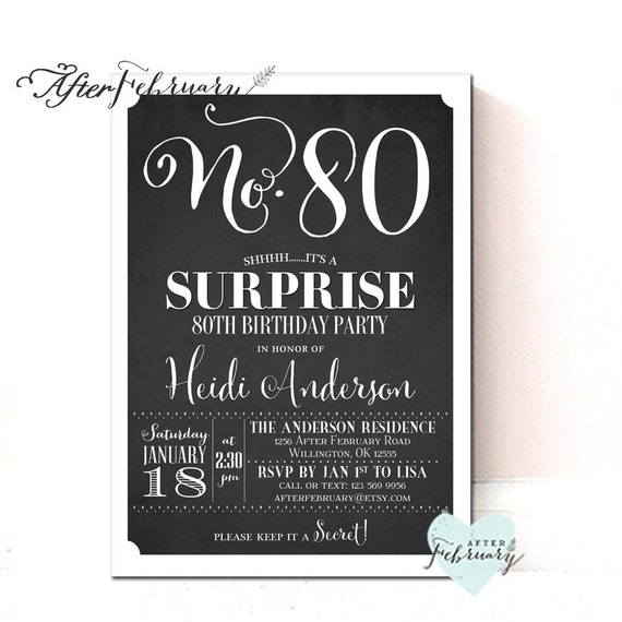 ANY AGE Surprise 80th Birthday Invitation For Men Woman