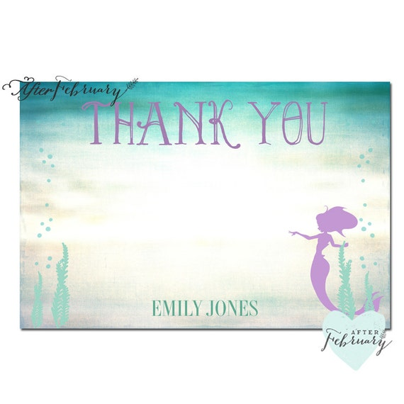 Personalized Mermaid Thank You Card Mermaid Baby Shower Etsy