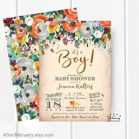 Fall baby shower invitations orange floral thanksgiving baby etsy image 0 filmwisefo