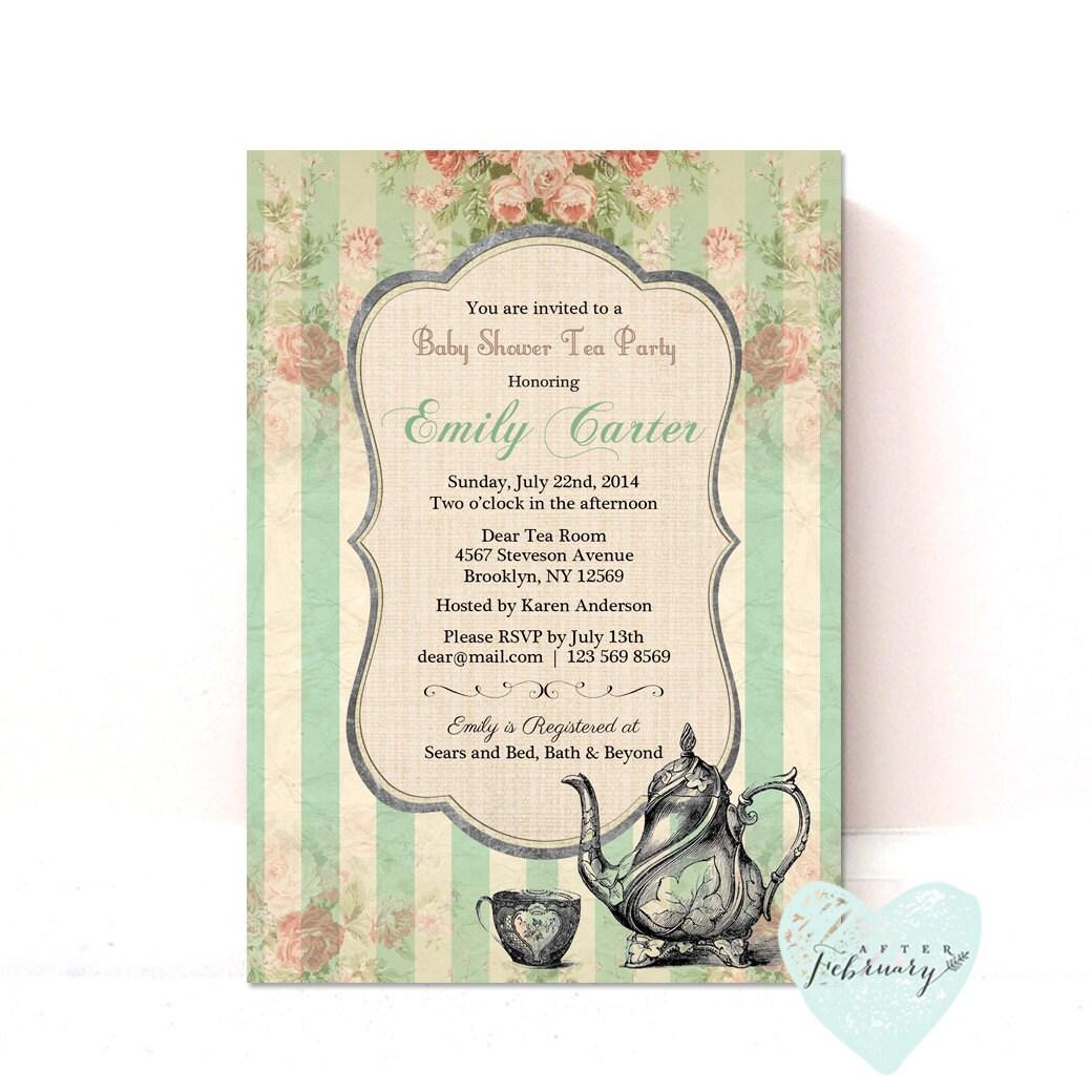 Baby Shower Invitation Baby Tea Party Invitation Mint | Etsy