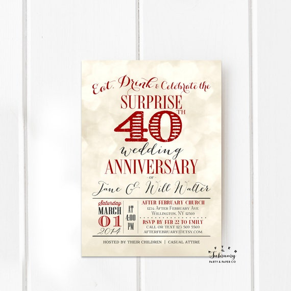 surprise 40th anniversary invitation ruby red wedding etsy