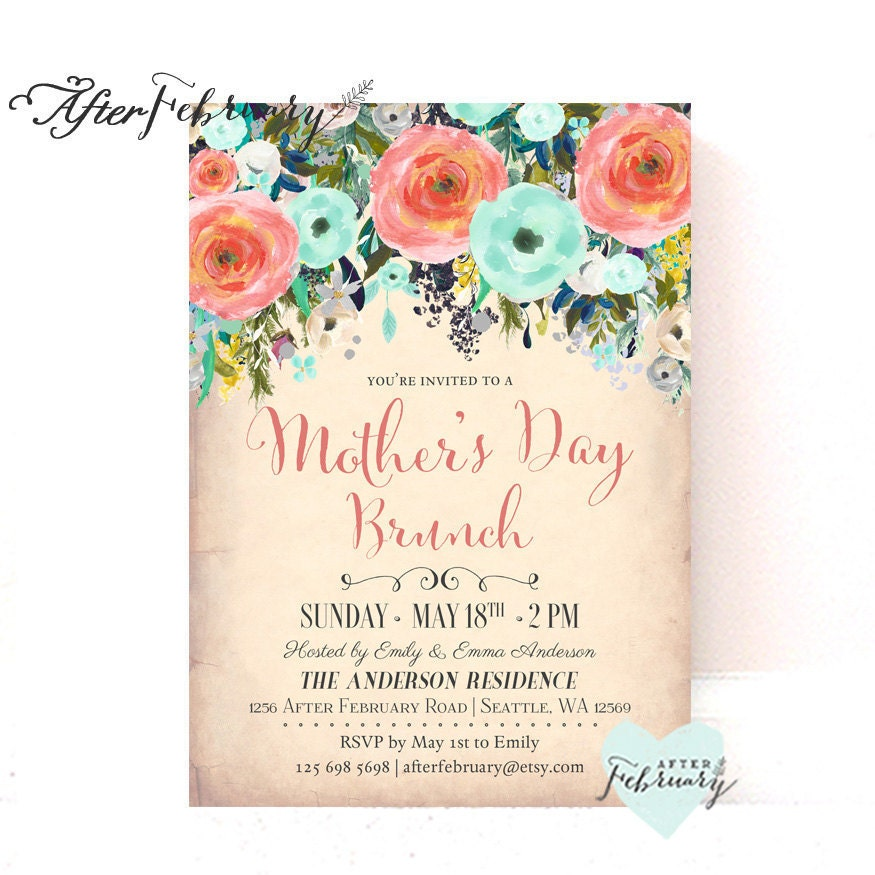 Coral Mint Mother\'s Day Brunch Invitation MOTHER\'S DAY