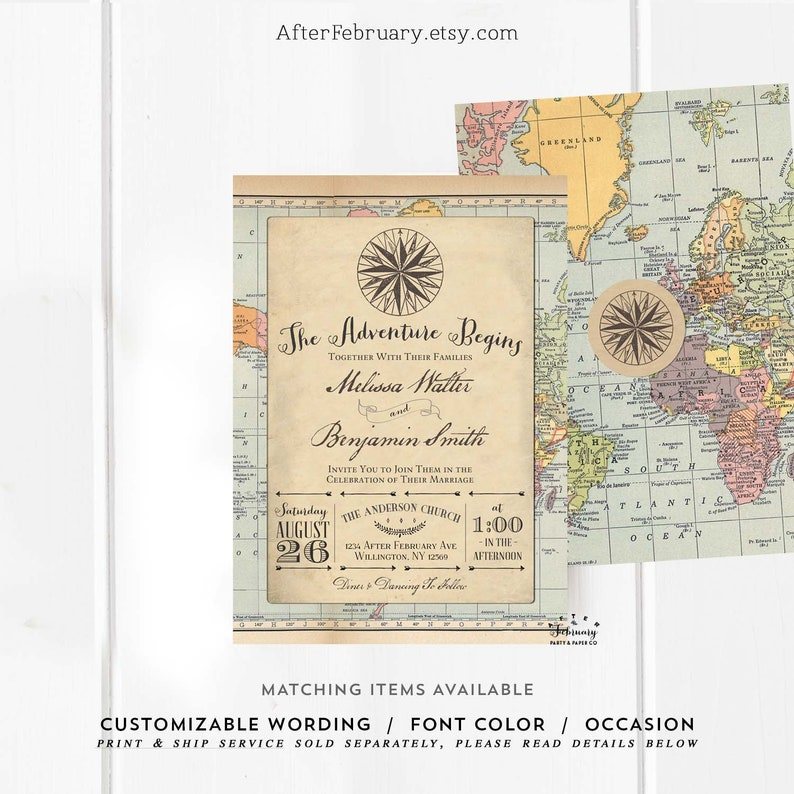 Adventure Wedding Invitation Adventure Begins Traveling Map Compass Travel  Wedding Reception Invite Invites Digital Printable 1269 (W)