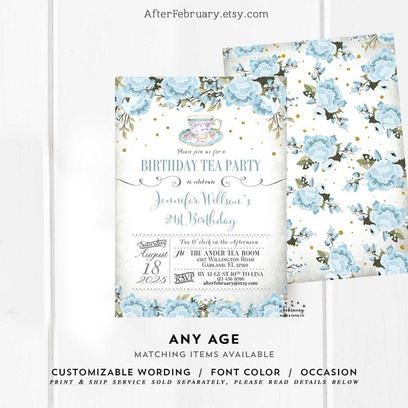 10 Personalised 18th 21st 30th 40th 50th Blue Birthday Invitations N201 ANY AGE