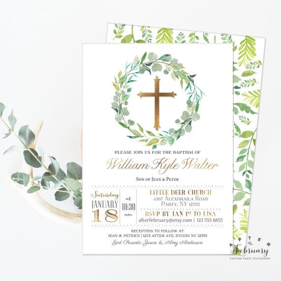 Greenery Baptism Invitation Boy Christening Invite Green And Etsy