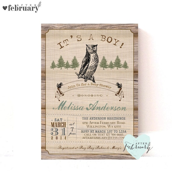 Vintage Owl Baby Shower Invitations: Owl Baby Shower Invitation Vintage Wood Background Custom