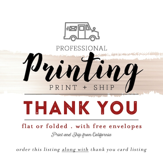 professional printing service for thank you card flat card etsy