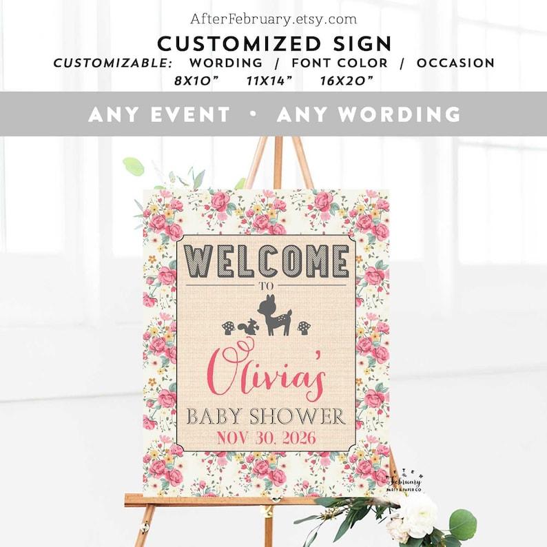 Baby Shower Welcome Sign Floral Woodland Deer Customized Personalized Baby  Shower Brunch Sprinkle Sign Signage Digital Printable 698 BABY