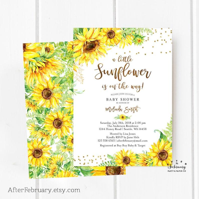 Sunflower Baby Shower Invitation Sunflower Invitation Gold Etsy