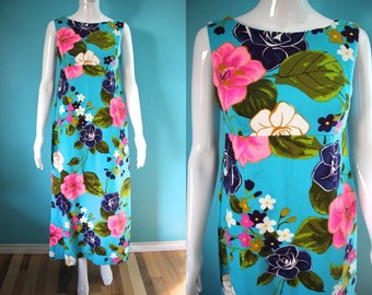 aee1de40776f Hawaiian Dress 60's Ui Maikai Turquoise Floral Print Barkcloth Maxi Dress  With Waterfall Panels