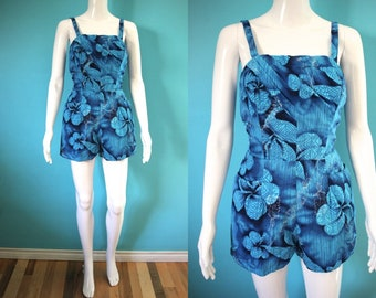 42df5002422 Hawaiian Romper 50 s Blue Cotton Hawaiian Print Romper Hawaiian Playsuit