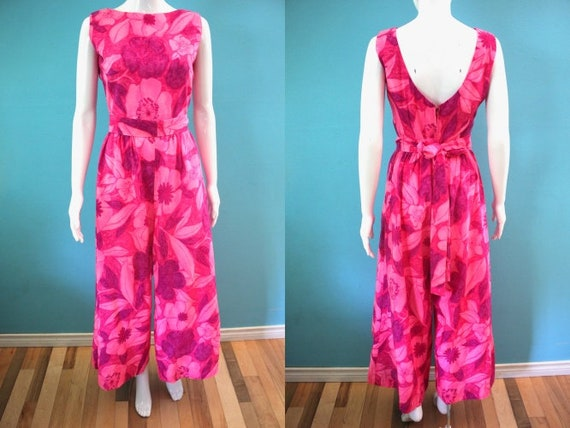 Hawaiian Jumpsuit 1960's Pink And Purple watercolo