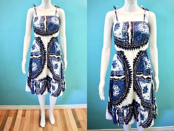 Hawaiian Dress 70's Blue And White Tapa Print Walt