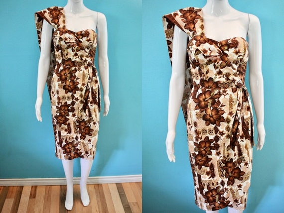 Hawaiian Dress 50's Brown Hawaiian Print Sarong St