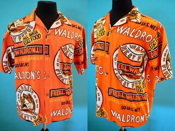 Hawaiian Shirt Orange Waldron's Hawaiian Foods Pri