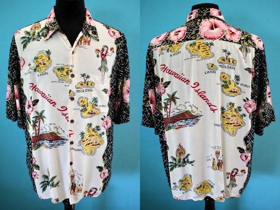 Hawaiian Shirt  Reyn Spooner Rayon Hawaiian Map Pr