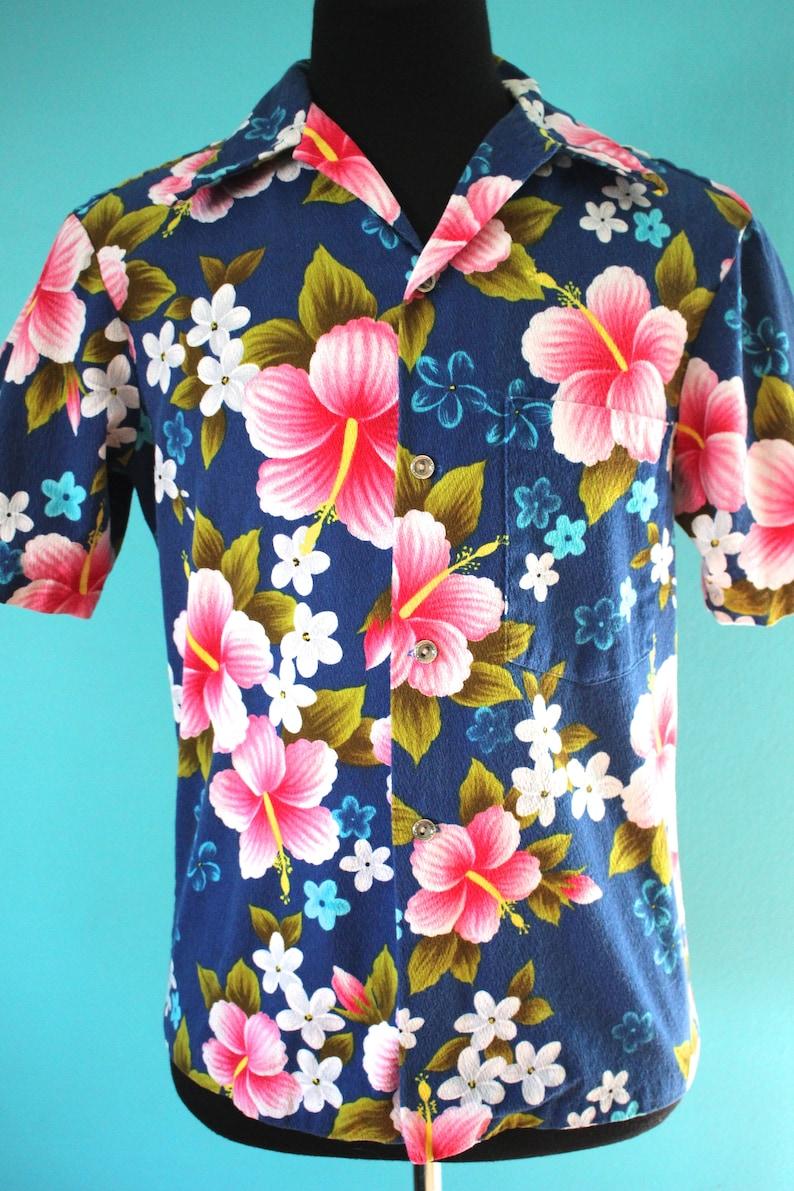 f4765345 Hawaiian Shirt 60's Men's Ui Maikai Hibiscus Print | Etsy