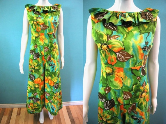 Hawaiian Jumpsuit 1960's Watercolor Floral Print B