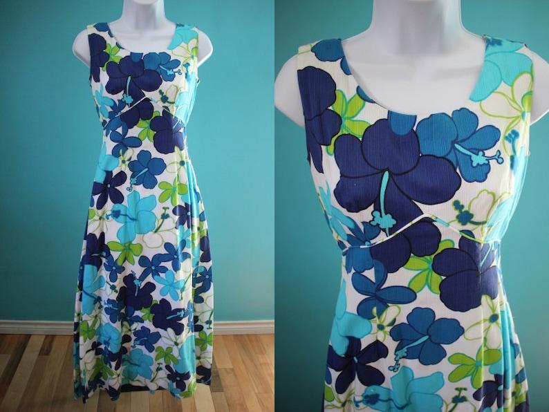 4035f659801 Hawaiian Dress 60's Hibiscus And Plumeria Print Maxi Hawaiian Dress