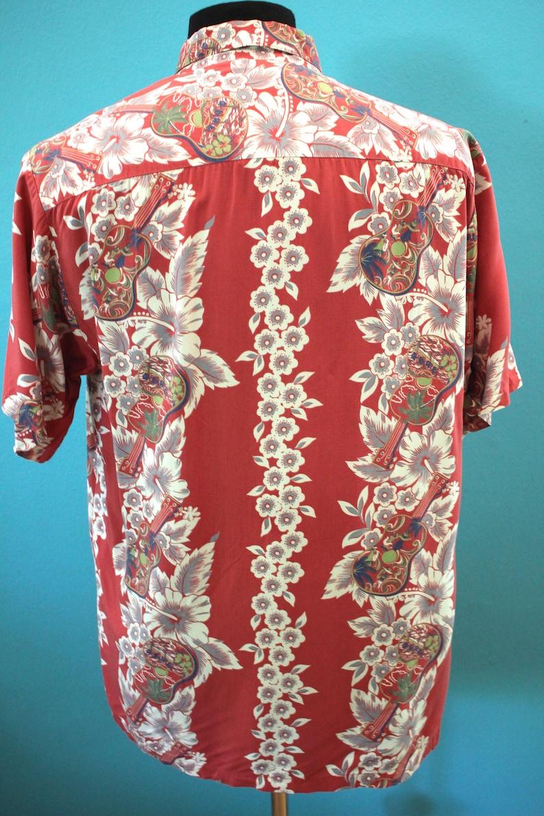 Hawaiian Shirt 90/'s-Does-40/'s Men/'s Iolani Guitar Ukelele Print Floral Striped Hawaiian Shirt