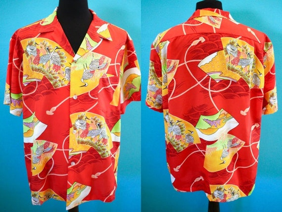 Hawaiian Shirt 70's Asian Crane Print Hawaiian Shi