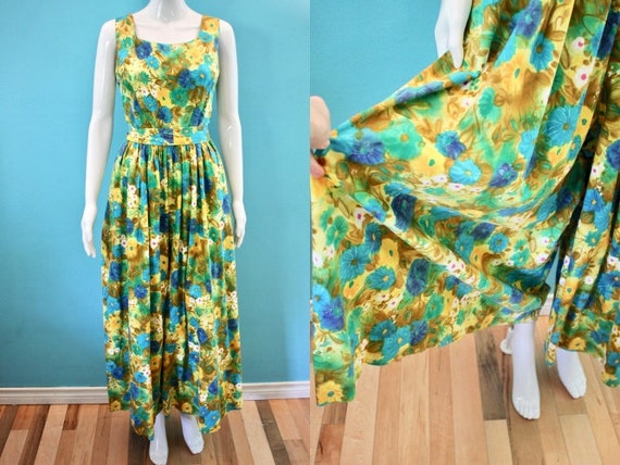 60's Jumpsuit 60's Floral Palazzo Style Hawaiian … - image 1