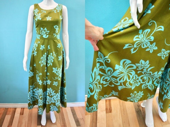 Hawaiian Jumpsuit 60's Olive And Aqua Graphic Flor