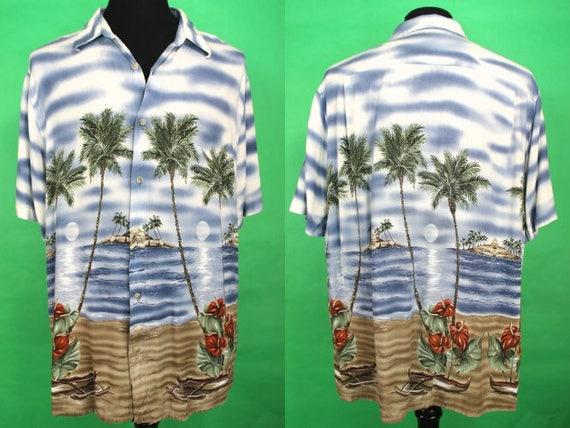 3e563d4c823 Hawaiian Shirt 90's Rayon Tropical Beach Scene Hawaiian Shirt Size XL