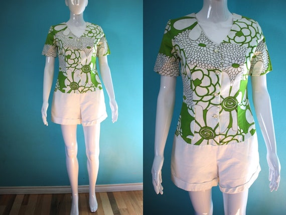 Hawaiian Romper   60's White And Green Floral Prin
