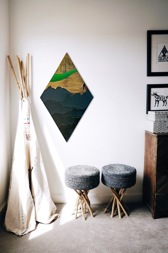 Aurora Borealis Wood Wall Art Nature Inspired Home Decor Etsy