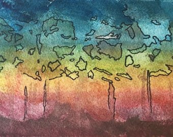 Colorful Forest Watercolor and Ink