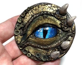 """Dragon Eye Medallion 2.5"""" - Polymer Clay - Gold /Green with Blue eye"""