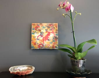 "Tune Up - Original Encaustic Painting 10x10x1.5"""