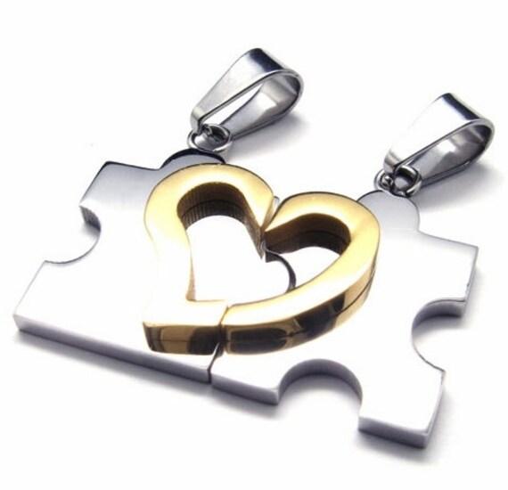 2pcs Mens /& Womens Couples Stainless Steel Puzzle Pendant Love Necklace Set