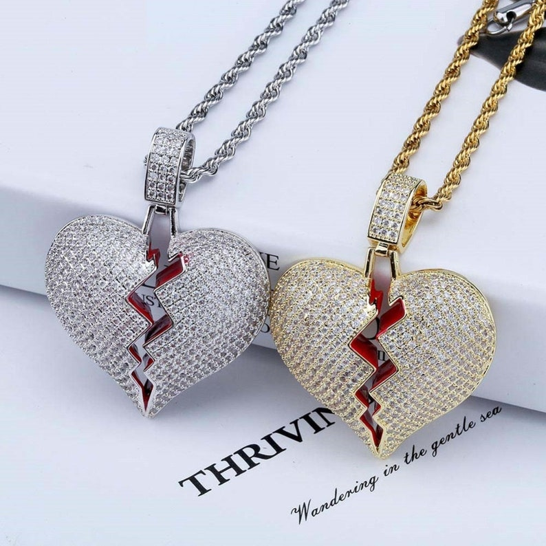 1475aaae43562 Broken Heart Iced Out Chain Pendant Necklace Statement Split Heart Gold  Silver diamond Cubic Zircon heartbreaker Necklace Hip Hop Mens Gift