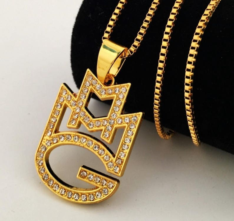26dd19a2135aa Mens HIP HOP Iced Out Maybach Music Rick Ross Rap Group MMG Pendant Franco  chain Necklace 6.8CM*8.0CM large