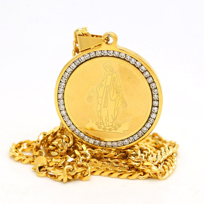 """Stainless Steel 18K Gold Plated Round Iced Out Masonic Pendant Box Chain 3MM 24/"""""""