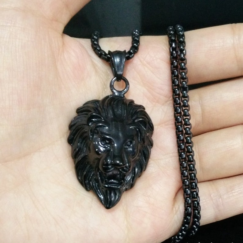 134b6df34bbf46 Black Lion head Charm Mens Pendant Necklace Stainless Steel | Etsy