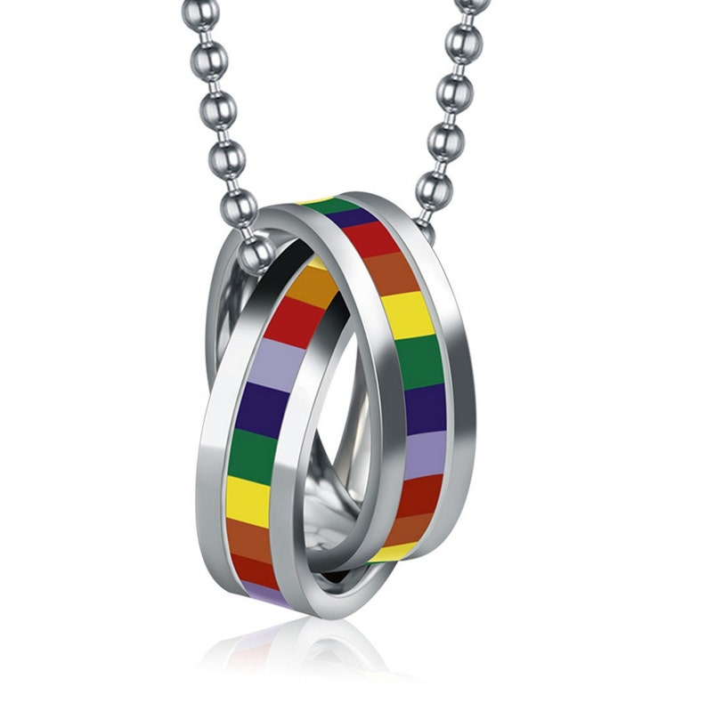 Gay Pride Day Cylinder Pendant Stainless Steel Rainbow Lesbian LGBT Necklace
